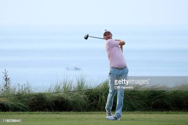 Brendon Todd of the United States plays his shot from the ninth tee during the final round of the Bermuda Championship at Port Royal Golf Course on...