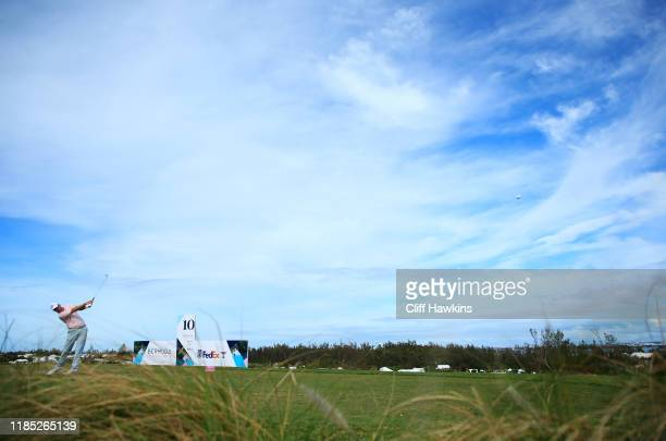Brendon Todd of the United States plays his shot from the tenth tee during the final round of the Bermuda Championship at Port Royal Golf Course on...