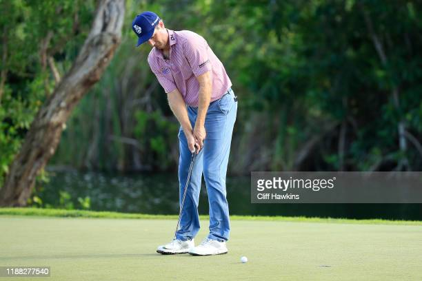 Brendon Todd of the United States putts on the fifth green during the final round of the Mayakoba Golf Classic at El Camaleon Mayakoba Golf Course on...