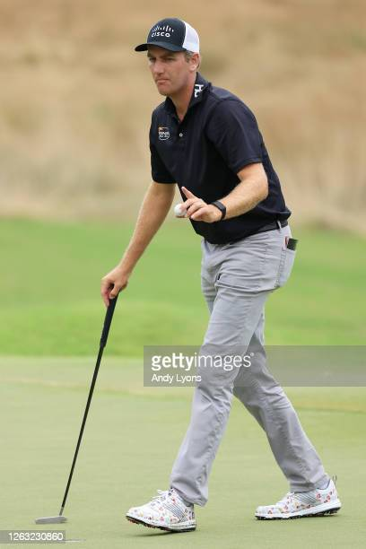 Brendon Todd of the United States reacts after a putt on the 13th green during the third round of the World Golf Championship-FedEx St Jude...