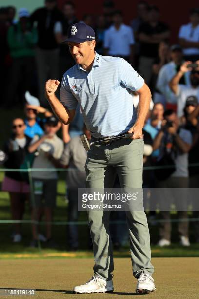 Brendon Todd of the United States reacts after his final putt on the 18th green to win during the continuation of the final round of the Mayakoba...