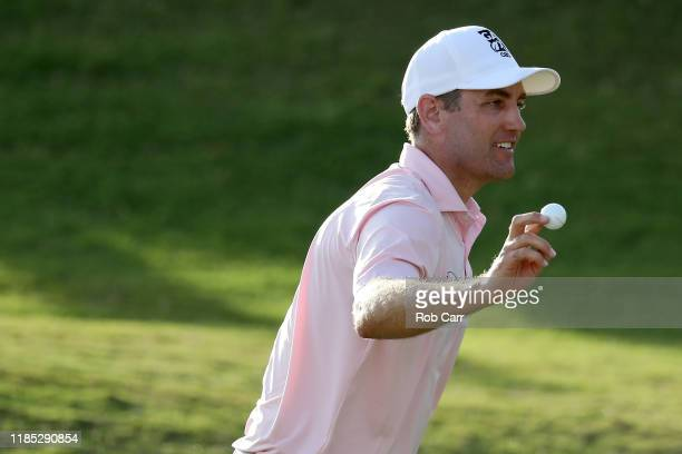 Brendon Todd of the United States reacts on the 18th green after winning during the final round of the Bermuda Championship at Port Royal Golf Course...