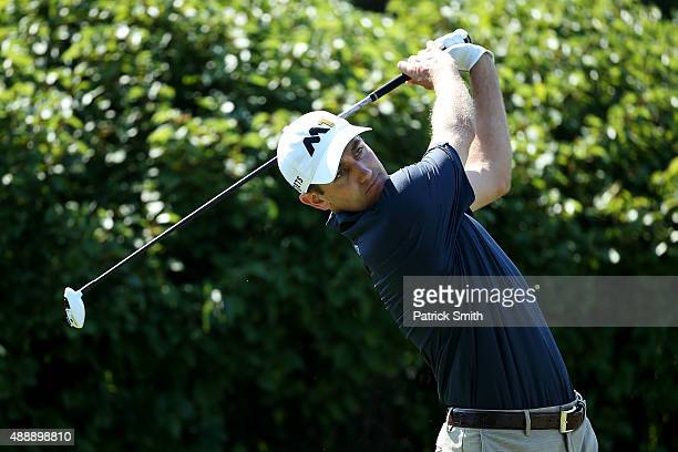 Brendon Todd plays a shot during the First Round of the BMW Championship at Conway Farms Golf Club on September 17 2015 in Lake Forest Illinois