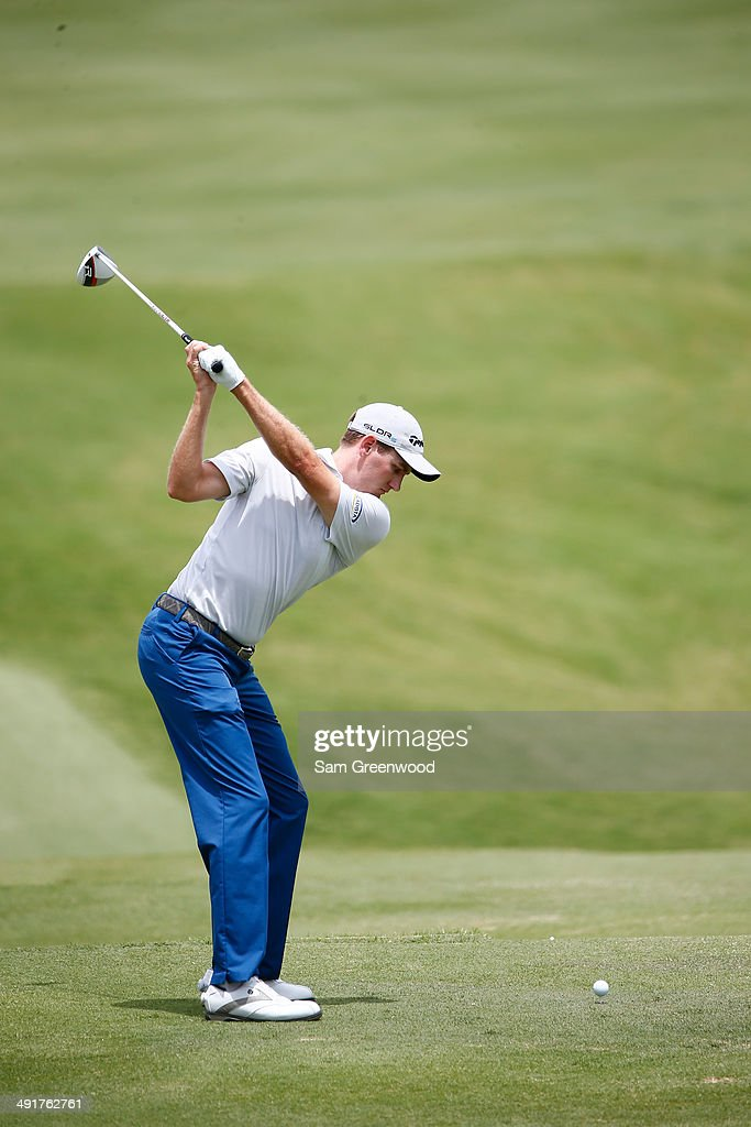 Brendon Todd plays his tee shot on the third hole during the third round of the HP Byron Nelson Championship at the TPC Four Seasons on May 17, 2014 in Irving, Texas.
