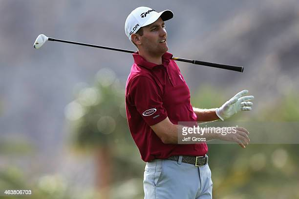 Brendon Todd reacts to his tee shot on the fifth hole during the final round of the Humana Challenge in partnership with the Clinton Foundation on...