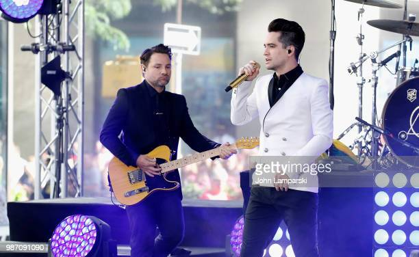 Brendon Urie and Kenneth Harris of Panic At The Disco perform on NBC's 'Today' at Rockefeller Plaza on June 29 2018 in New York City