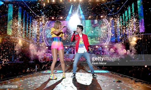 Brendon Urie and Taylor Swift perform onstage at 2019 iHeartRadio Wango Tango presented by The JUVÉDERM® Collection of Dermal Fillers at Dignity...