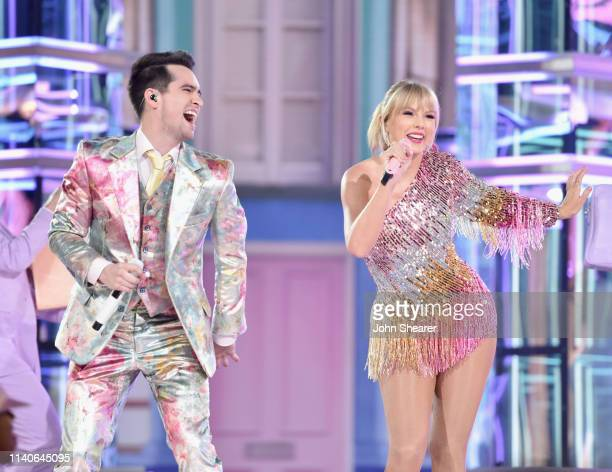Brendon Urie and Taylor Swift perform onstage during the 2019 Billboard Music Awards at MGM Grand Garden Arena on May 1 2019 in Las Vegas Nevada