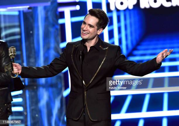 Brendon Urie of Panic! at the Disco accepts the Top Rock Song award for 'High Hopes' onstage during the 2019 Billboard Music Awards at MGM Grand...