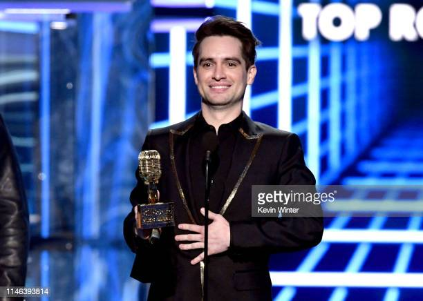 Brendon Urie of Panic at the Disco accepts the Top Rock Song award for 'High Hopes' onstage during the 2019 Billboard Music Awards at MGM Grand...