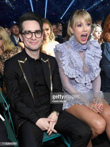 Brendon Urie of Panic at the Disco and Taylor Swift attend the 2019 Billboard Music Awards at MGM Grand Garden Arena on May 1 2019 in Las Vegas Nevada