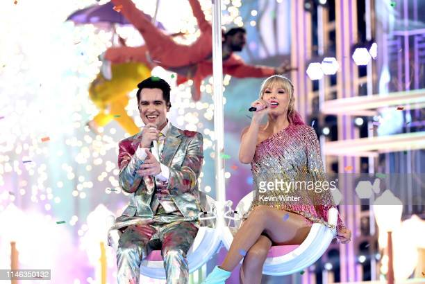 Brendon Urie of Panic! at the Disco and Taylor Swift perform onstage during the 2019 Billboard Music Awards at MGM Grand Garden Arena on May 01, 2019...