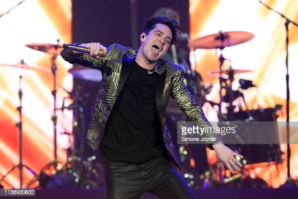 Brendon Urie of Panic! At The Disco at The O2 Arena on March 28, 2019 in London, England.
