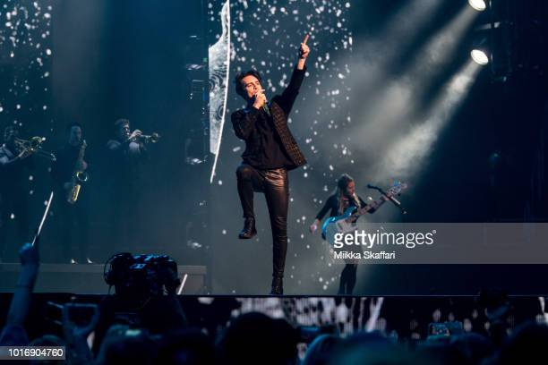 Brendon Urie of Panic At The Disco performs at SAP Center on August 14 2018 in San Jose California