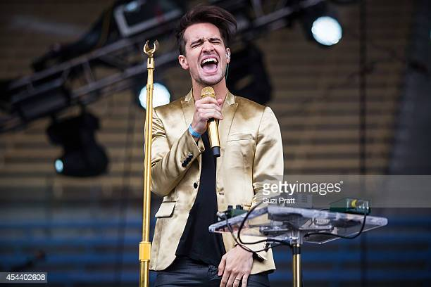 Brendon Urie of Panic at the Disco performs at the Bumbershoot Music and Arts Festival on August 30 2014 in Seattle Washington