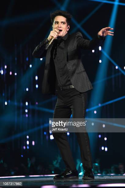 Brendon Urie of Panic at the Disco performs on stage at the MTV EMAs 2018 at Bilbao Exhibition Centre on November 4 2018 in Bilbao Spain