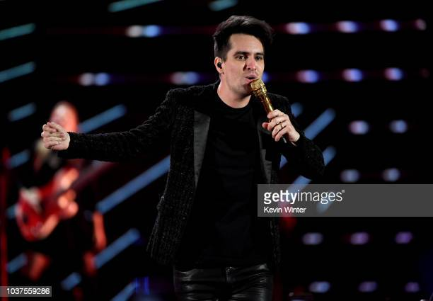 Brendon Urie of Panic at the Disco performs onstage during the 2018 iHeartRadio Music Festival at TMobile Arena on September 21 2018 in Las Vegas...