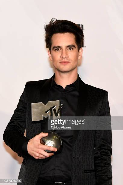 Brendon Urie of Panic At The Disco poses with the Best Alternative award in the Winners room during the MTV EMAs 2018 at Bilbao Exhibition Centre on...