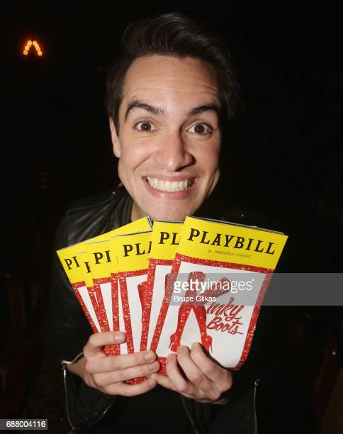 Brendon Urie of the band 'Panic At The Disco' poses at a photo call for his rehearsal for his broadway debut in the hit musical 'Kinky Boots' on...