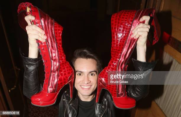 Brendon Urie of the band 'Panic At The Disco' poses backstage after making his broadway debut as 'Charlie Price in the hit musical 'Kinky Boots' on...
