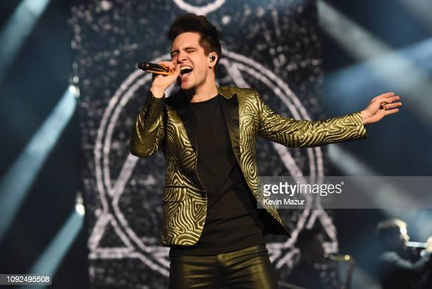 Brendon Urie performs onstage as Panic At The Disco kick off the second leg of the Pray For The Wicked Tour with a sold out show at KeyBank Center on...