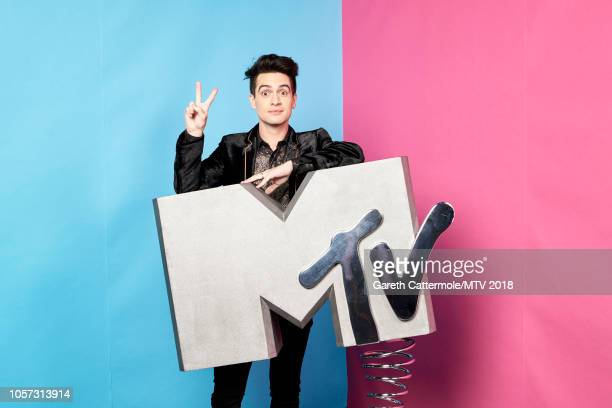 Brendon Urie poses at the MTV EMAs 2018 studio at Bilbao Exhibition Centre on November 4, 2018 in Bilbao, Spain.
