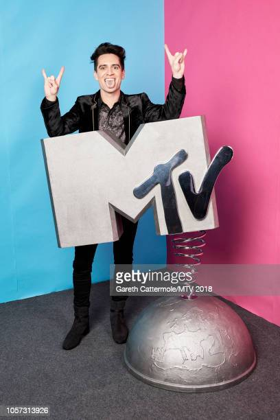Brendon Urie poses at the MTV EMAs 2018 studio at Bilbao Exhibition Centre on November 4 2018 in Bilbao Spain