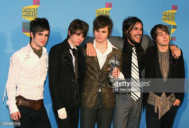 "Brendon Urie Ryan Ross Spencer Smith and Johnny Walker of Panic at the Disco winners of Video of the Year for ""I Write Sins Not Tragedies"""