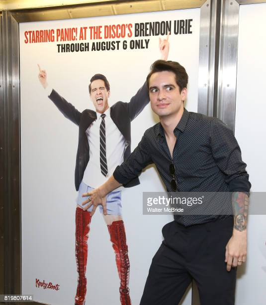 Brendon Urie unveils His Subway Billboards For Broadway's 'Kinky Boots' at the 42nd Street Times Square Subway Station on July 20 2017 in New York...