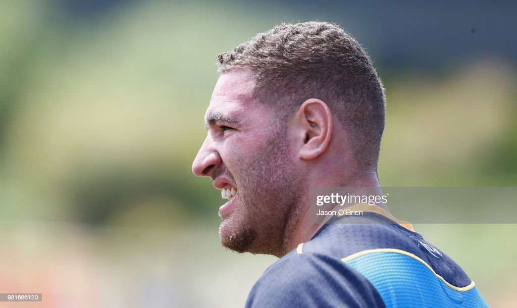 Brenko Lee during a Gold Coast Titans NRL training session at Parkwood on March 14, 2018 in Gold Coast, Australia.