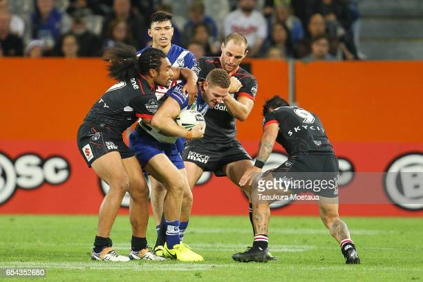 Brenko Lee of the Bulldogs is tackled during the round three NRL match between the Bulldogs and the Warriors at Forsyth Barr Stadium on March 17 2017...