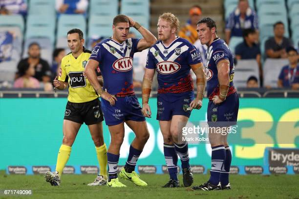 Brenko Lee of the Bulldogs looks dejected after being sent to the sin bin during the round eight NRL match between the Wests Tigers and the...