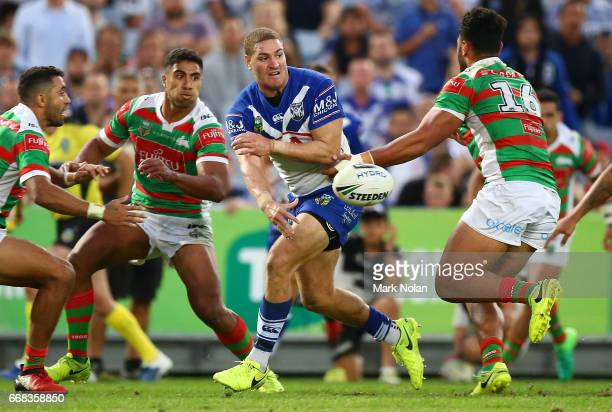 Brenko Lee of the Bulldogs offloads to set up a try during the round seven NRL match between the Canterbury Bulldogs and the South Sydney Rabbitohs...