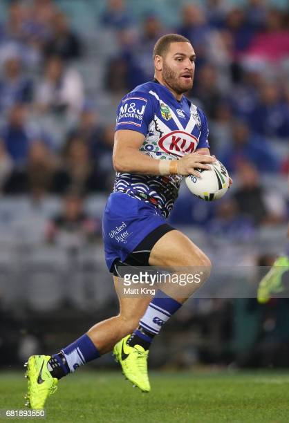 Brenko Lee of the Bulldogs runs with the ball during the round 10 NRL match between the Canterbury Bulldogs and the North Queensland Cowboys at ANZ...