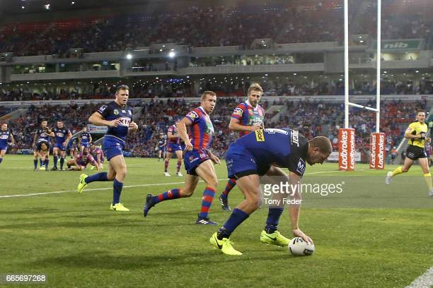 Brenko Lee of the Bulldogs scores a try during the round six NRL match between the Newcastle Knights and the Canterbury Bulldogs at McDonald Jones...