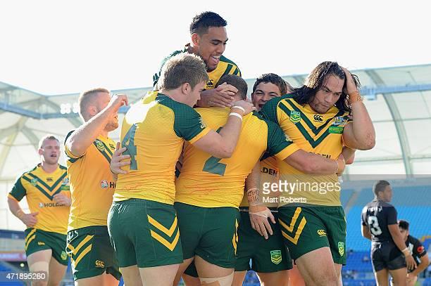 Brenko Lee of the Junior Kangaroos celebrates scoring a try with team mates during the International Test Match between Junior Kangaroos and Junior...