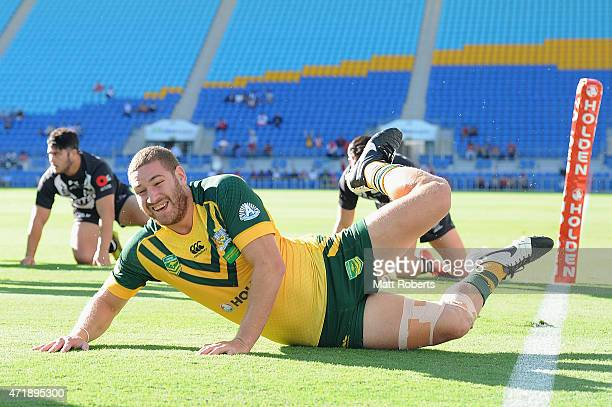 Brenko Lee of the Junior Kangaroos scores a try during the International Test Match between Junior Kangaroos and Junior Kiwis at Cbus Super Stadium...