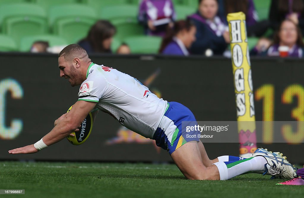 Brenko Lee of the Raiders dives to score a try during the round eight Holden Cup match between the Melbourne Storm and the Canberra Raiders at AAMI Park on May 4, 2013 in Melbourne, Australia.