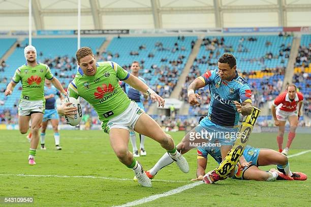 Brenko Lee of the Raiders scores a try during the round 16 NRL match between the Gold Coast Titans and the Canberra Raiders at Cbus Super Stadium on...