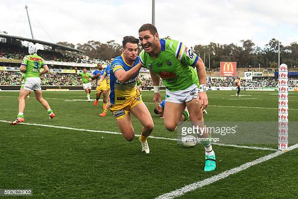 Brenko Lee of the Raiders scores a try during the round 24 NRL match between the Canberra Raiders and the Parramatta Eels at GIO Stadium on August 21...