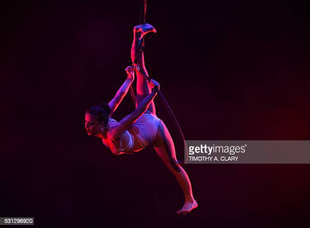 Brenna Bradbury of the US performs on the Women's Lyra during the 2nd Annual US Aerial Championships May 13 2016 at the Baruch Performing Arts Center...