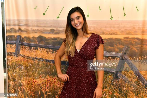 Brenna Huckaby speaks at Pin Aerie's Real Talk At Natick Mall on August 18 2018 in Natick Massachusetts