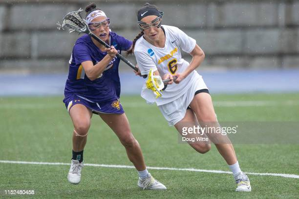 Brenna Lynch of the West Chester Golden Rams chases Chelsea Abreu of the Adelphi Panthers during the 2019 Division II Women's Lacrosse Championship...