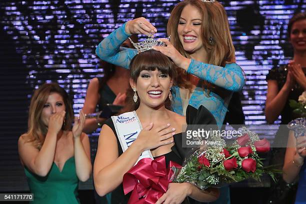 Brenna Weick being crowned Miss New Jersey 2016 by Lindsey Gianniini Miss New Jersey 2015 at the Miss New Jersey Scholarship Pageant at the Ocean...