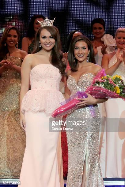 Brenna Weick Miss New Jersey 2016 poses with Amanda Rae Ross Miss Seashore Line winner of the 'Swimsuit' competition at the 2017 Miss New Jersey...
