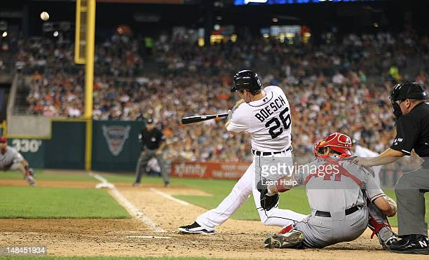 Brennan Boesch of the Detroit Tigers hits a tworun home run to right field scoring Prince Fielder during the seventh inning of the game against the...