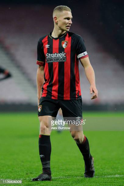Brennan Camp of AFC Bournemouth looks on during the FA Youth Cup Fifth Round Match between AFC Bournemouth U18 and Aston Villa U18 at Vitality...