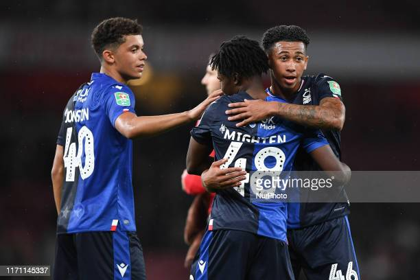 Brennan Johnson Alex Mighten and Jordan Gabriel of Nottingham Forest during the Carabao Cup match between Arsenal and Nottingham Forest at the...