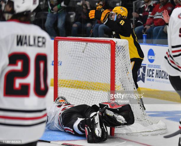 Brennan Kapcheck of the American International Yellow Jackets celebrates after scoring a goal in the second period against David Hrenak of the St...