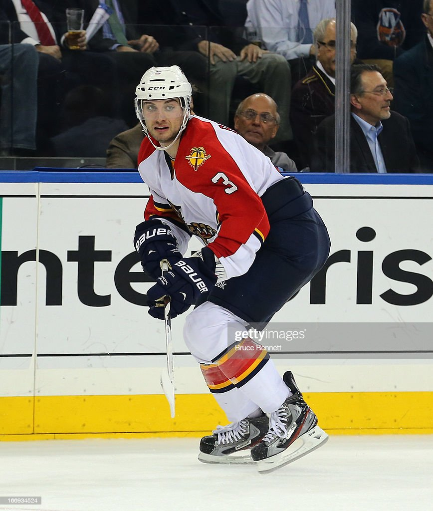 T.J. Brennan #3 of the Florida Panthers skates against the New York Rangers at Madison Square Garden on April 18, 2013 in New York City. The Rangers defeated the Panthers 6-1.